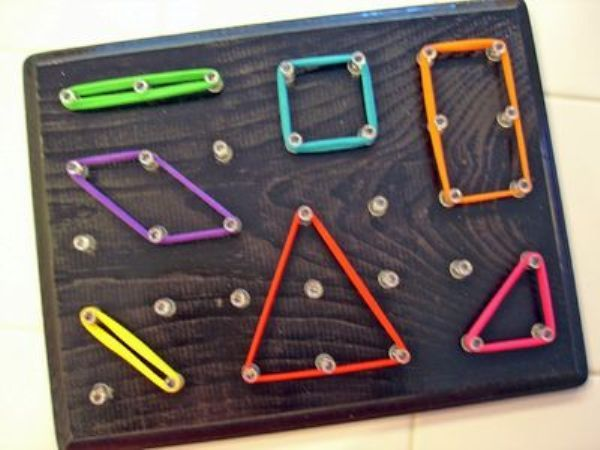 Looking for a project? Why not make the kids a GEOBOARD? All you need is a piece of wood, nails or drawing pins  elastic bands of different colours  sizes! Great for fine motor skills  creativity. Other ideas: http://www.under5s.co.nz/shop/Hot+Topics/Activities/Things+to+make.html