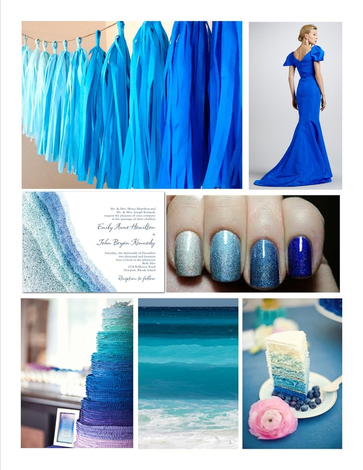 Ocean blue ombre wedding color palette inspiration color for Ocean blue color combinations