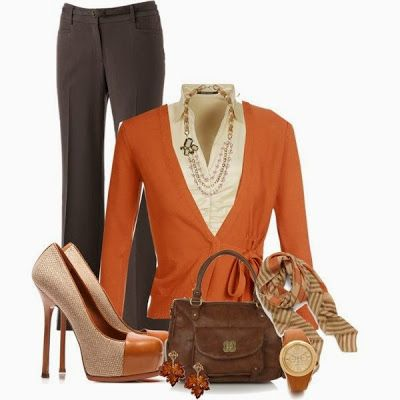 Love the scarf, necklace, and two tone shoes Work outfit for fall | Fashion World