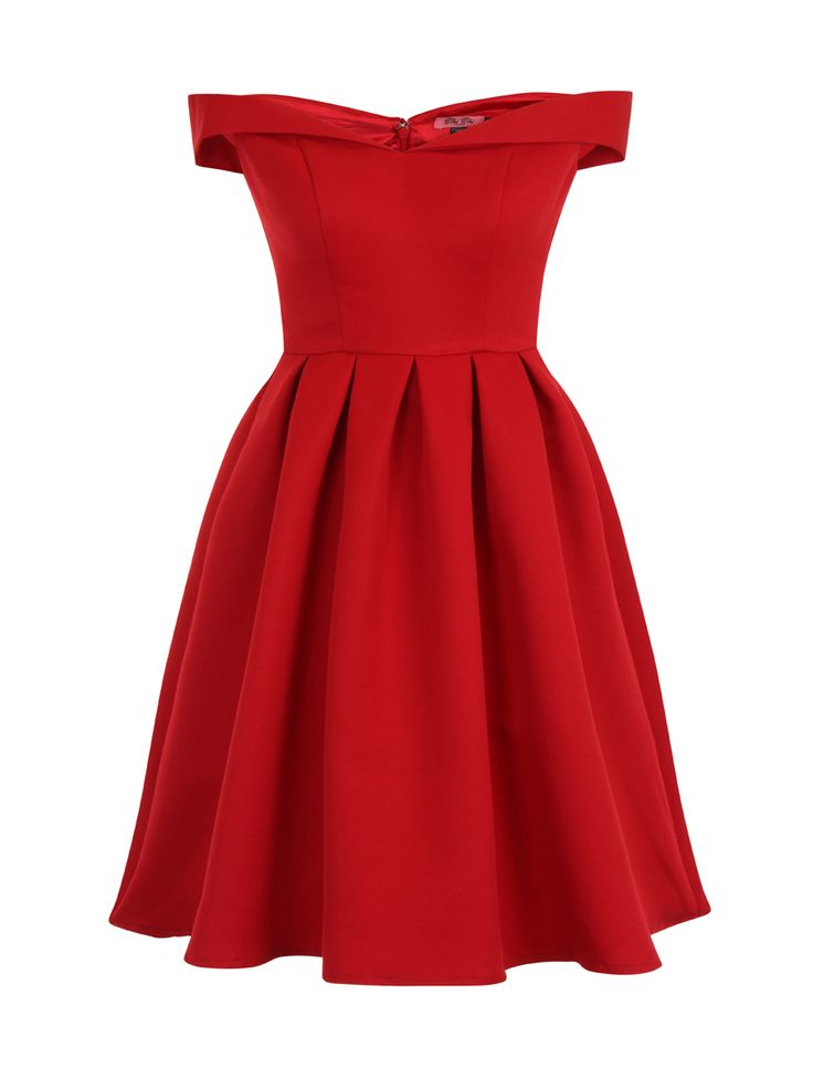 Chi Chi Jade Dress red off shoulder 50s style