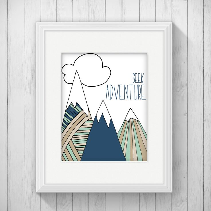 Nursery Ideas And Décor To Inspire You: Seek Adventure Nursery Wall Art Instant Download, Mountain