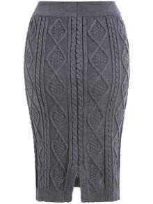 Falda estampado tejido -gris-Spanish SheIn(Sheinside)