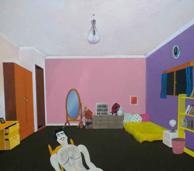 "Yuriko Wada ""Steve in girl's room"" 2009 acrylic on canvas, collage 45.5×53cm #painting #art #contemporary"