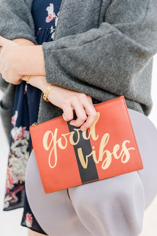 DIY handlettered clutch