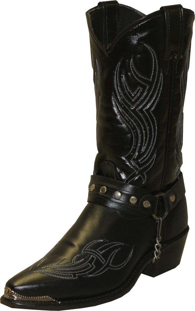 Sage Boots Mens Black Cowhide Cowboy Harness USA