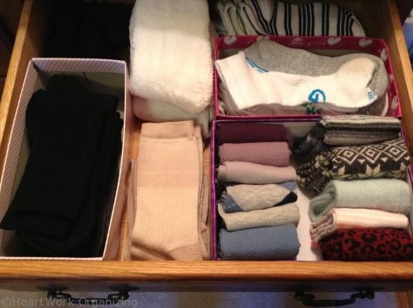 Organize a Pretty Sock Drawer {How to Wrap the Inside of a ShoeBox} | HeartWorkOrg.com