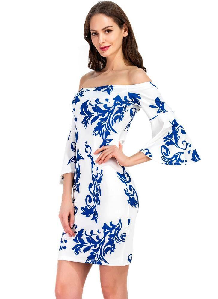 Women Off the Shoulder Dress Porcelain Print Slash Neck Sleeve Dress