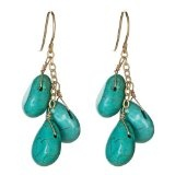 14kt Gold Turquoise Tear Drop Dangle Earrings
