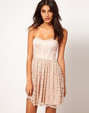 Asos Strapless Skater Dress In Lace At Asos Com On Wanelo Asos Evening Dresses Lace Bridesmaid Dresses Discount Bridesmaid Dresses