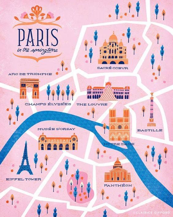 paris map illustration on behance