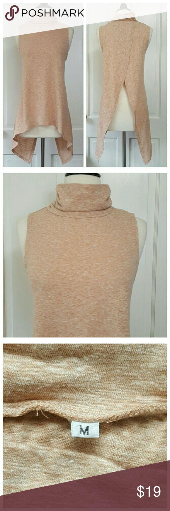 Sleeveless Mock Turtleneck Asymmetrical Top NWOT Sleeveless top with open back and mock turtleneck, peach, NWOT. Tops