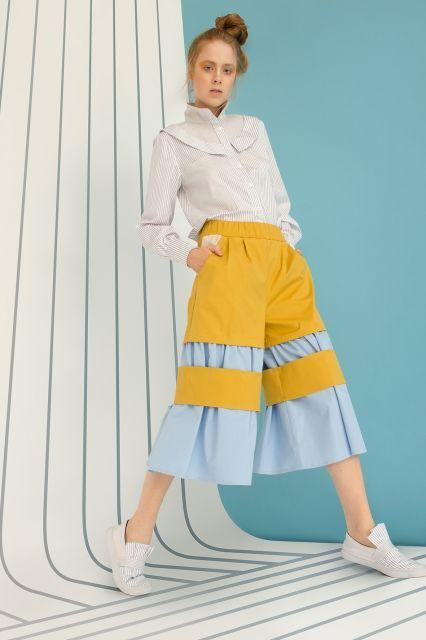 Long sleeve striped cotton shirt MoMi-Ko spring summer 17