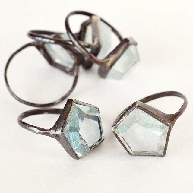 aquamarine hex rings