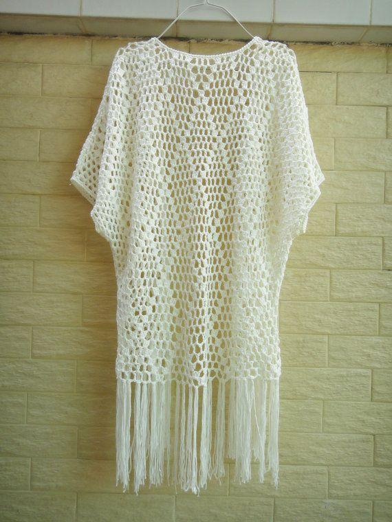 Fringe Cover Up Long Crochet Cardigan Womens by Tinacrochetstudio