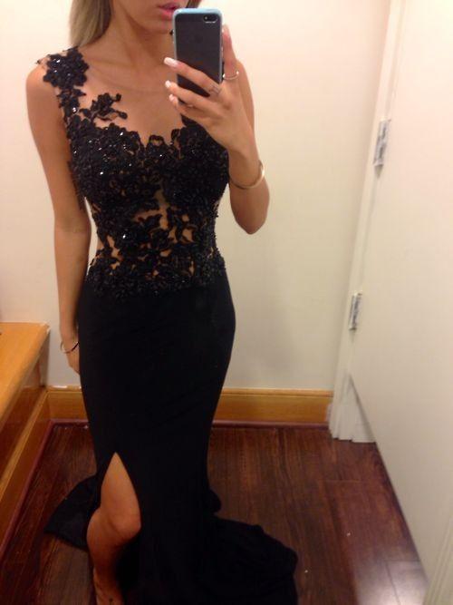 DIYouth.com 2015 Long Split illusion Neck Black Lace Prom Dress Formal Evening Gown Under 200