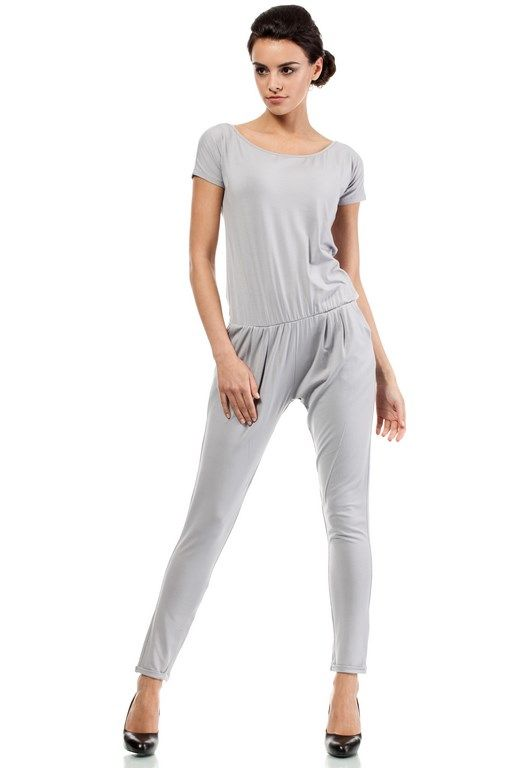 Gray jumpsuit women's short sleeve