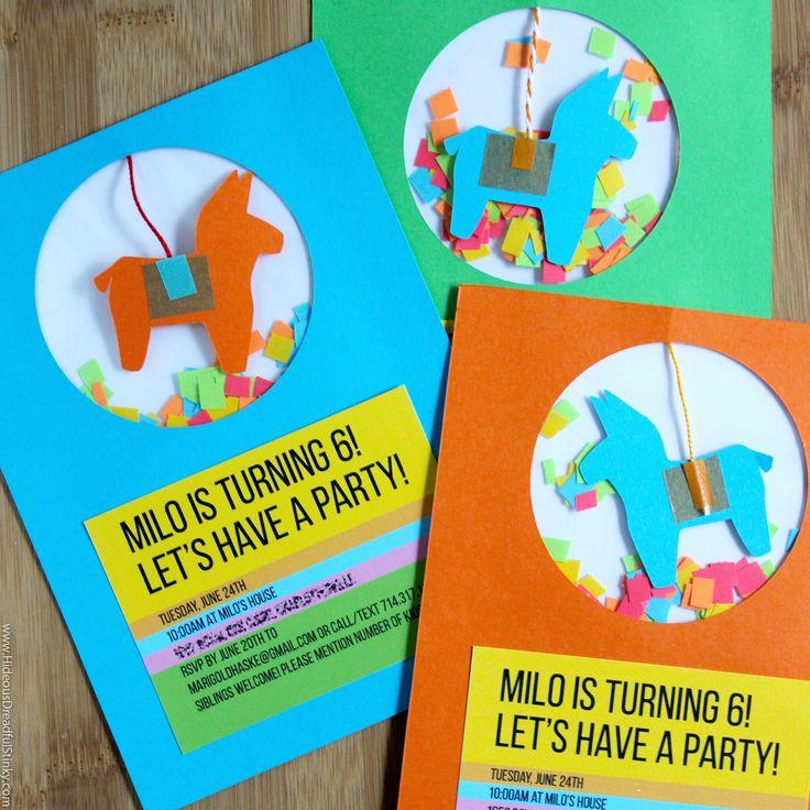 Pinata Party Invites
