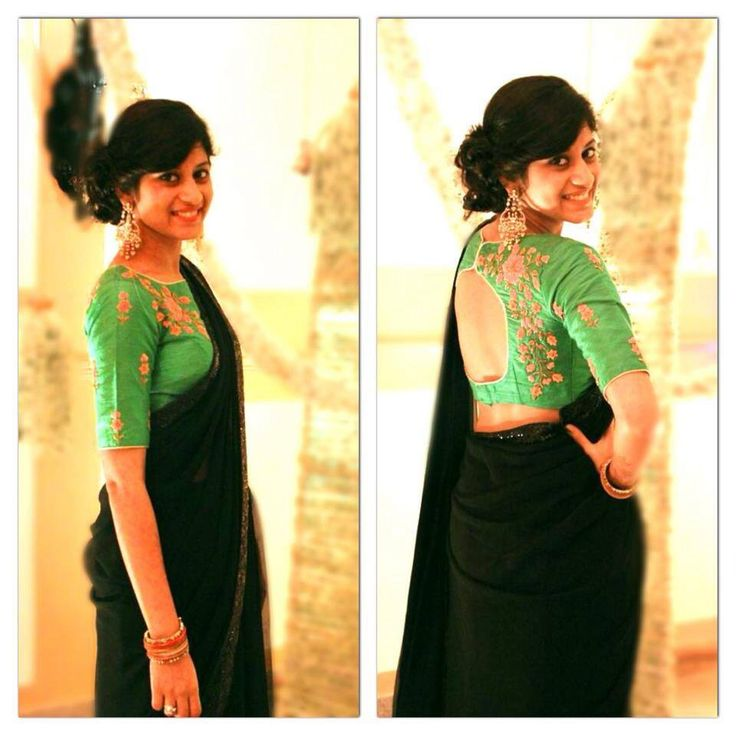 Black saree with green pita work blouse