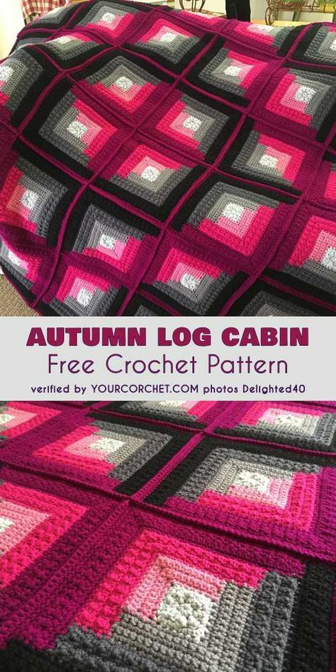 Autumn Log Cabin Throw Free Pattern – #Autumn #Cab…