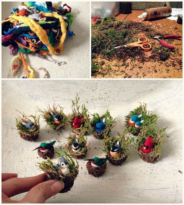www.gotcrowcreations.etsy.com mini felted birds in nests