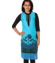 Buy Blue Printed Cotton straight kurti kurtas-and-kurti online