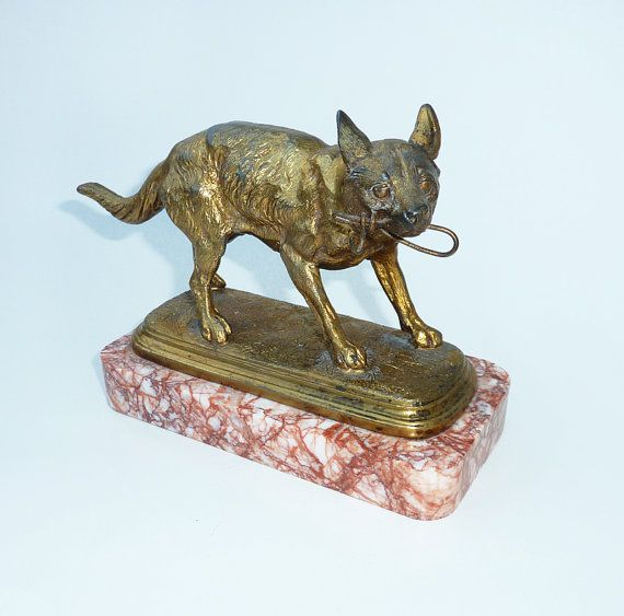 Antique French Gilt Hound Watch Holder by MaisonDogLondon on Etsy