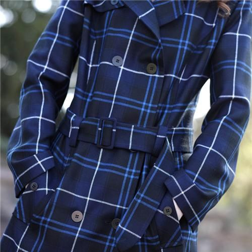 Gorgeous blue Tartan Trench Coat, made in Scotland.