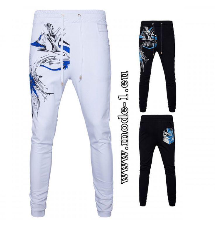Print Herren Jogginghose Sporthose in Weiß oder Schwarz