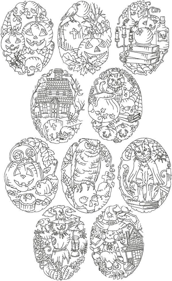 Advanced Embroidery Designs - Halloween Redwork Set