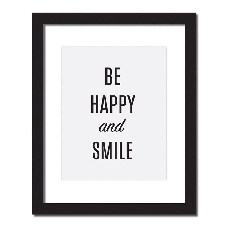 Inspirational quote print 'Be Happy and smile'