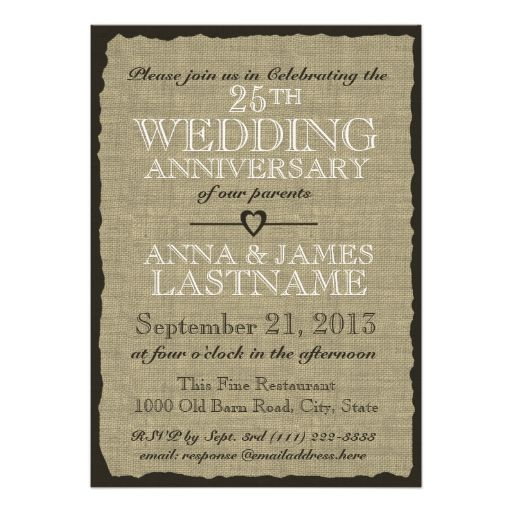 651 best 25th anniversary party invitations images on pinterest rustic burlap wedding anniversary card anniversary party invitationswedding stopboris Gallery