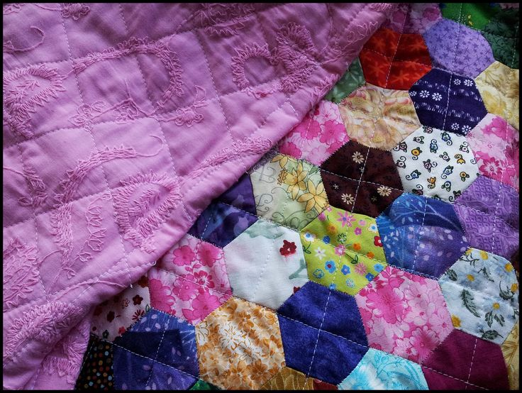 Hexie Lap Quilt (EPP) July 2016.