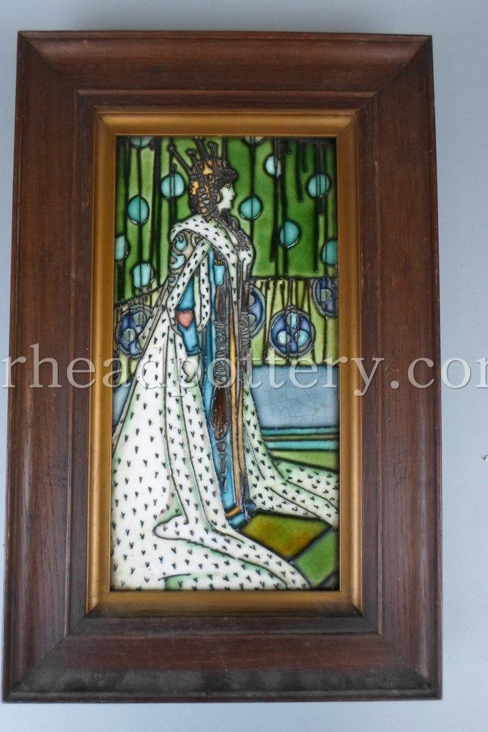 Charlotte Rhead tube-lined tile depicting a lady in ornate robes 30 x 15cm - £1,150