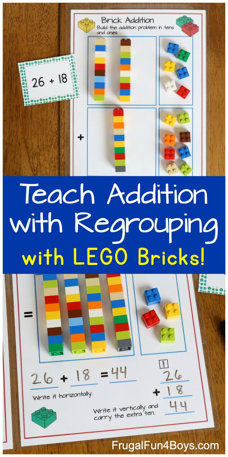 Addition With Regrouping With Lego Bricks Frugal Fun For Boys And Girls Lego Math Math For Kids Subtraction Activities How to explain addition with regrouping
