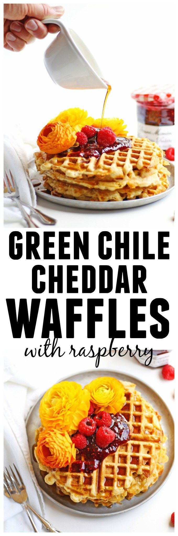 Cheesy green chile cornbread waffles with raspberry preserves recipe! An amazing, savory waffle with cheddar, walnuts, and green chiles. YUM! // Rhubarbarians // brunch recipe / breakfast recipe #brunch
