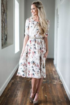 """You won't find a prettier floral dress anywhere! This gorgeous dress is perfect for Easter, date night or just wearing to church.  """"Easton"""" Modest Dress in Cream w/Floral Print"""