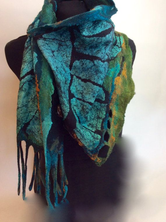 Nuno Felted Scarflette / Shawlette a by sugarplumoriginals on Etsy