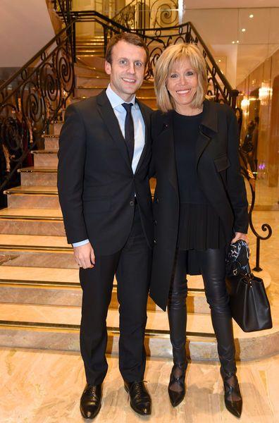 Emmanuel Macron et son épouse Brigitte lors d'une conférence organisée par la Fondation France-Israël en février dernier