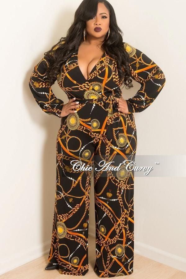 5845d62ad4f Plus Size Long Sleeve Faux Wrap Jumpsuit with Attached Tie in Black – Chic  And Curvy