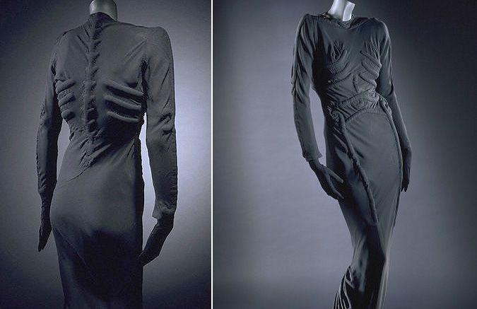 Skeleton Dress 1938  Elsa Schiaparelli  Paris  the skeleton dress is so constricted that it became a second skin and the imitation anatomy sat defiantly proud of the fine matt silk surface.