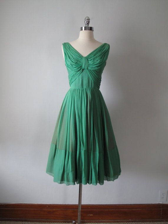 1950s Dress  Emerald Green  Evening Dress by maevintageinc on Etsy, $165.00