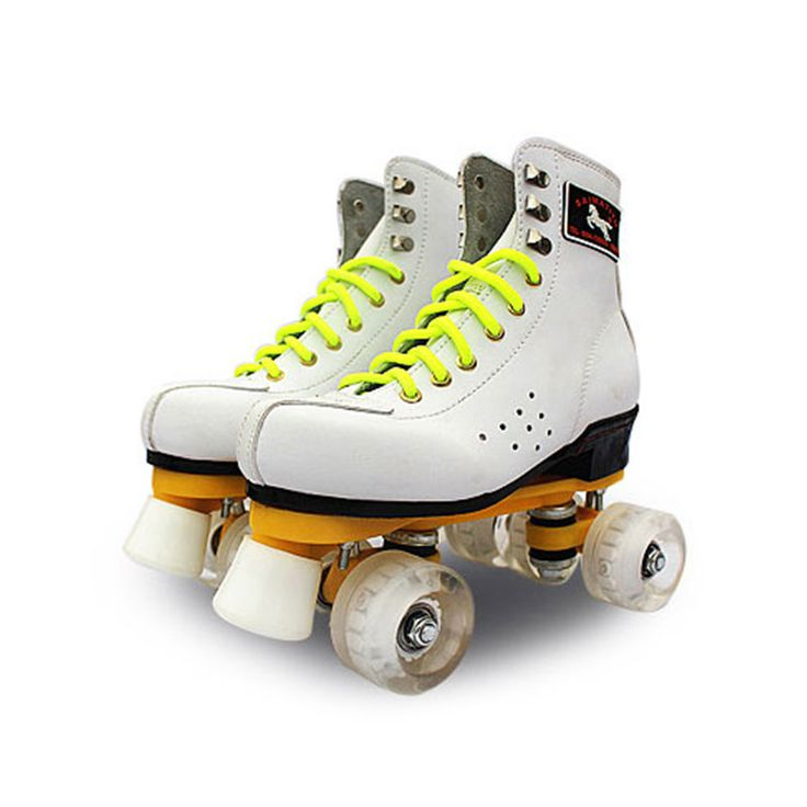 NEW Adults Outdoor Indoor Quad Roller Skates Boots Shoes Brown Lace-up 4 Wheels Double Line Skating Shoes