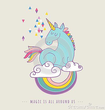 Cartaz mágico bonito do unicon e do arco-íris, cartão
