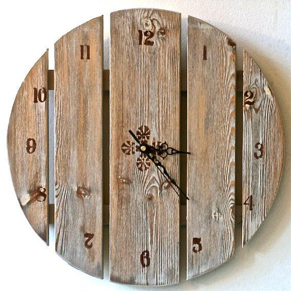 Large wall clock , Hand Painted  Wooden Clock, Rustic chic