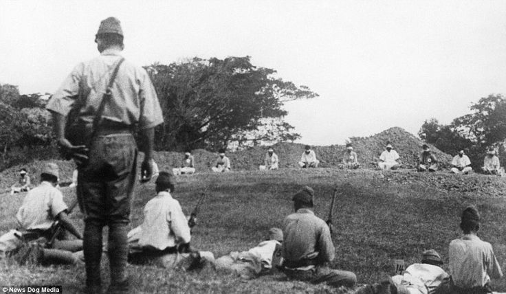 In this picture, the Japanese troops can be seen readying their rifles before shooting the helpless prisoners. General Tomoyuki Yamashita captured Singapore from the British in 1942, which Winston Churchill described as the 'worst disaster in British military history.' Yamashita was later charged with war crimes after overseeing atrocities such as the ones in Singapore and many other massacres across South East Asia. He was sentenced to death by hanging in 1946