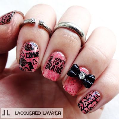Don't Let the Dead BitePolish Used:China Glaze Apocalypse Lacquer - Don't Let the Dead BiteBundle Monster Stamping Lacquer - Black NoirBase and top coatsOther Supplies:UberChic stamping plate - Zombie Love-01Rubber stamperBlack bow cabochonKrazy Glue