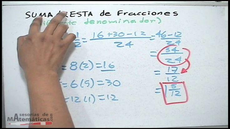 Suma y resta de fracciones con diferente denominador. Adding & Subtracti...