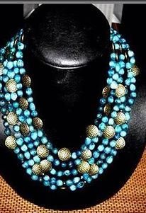 Turquoise Zulu pearls with copper coins