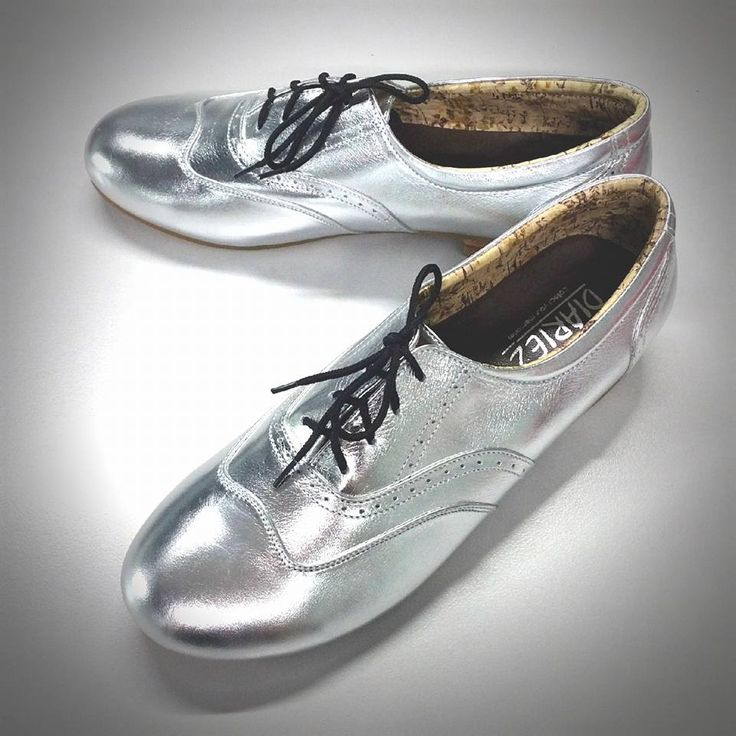 Sooo pretty! Silver metallic oxford flats. SolSmile/Diariez are now taking special orders for leather soles on their Oxfords! (Yay! if you're a dancer) High quality hand made to order, genuine leather upper, inner and outer. $150 (Australian), ships internationally. Shop at solsmile.com.au. (email to order special leather soles) Oxfords, Lindy Hop, Swing, dance shoes, Retro, two-tone