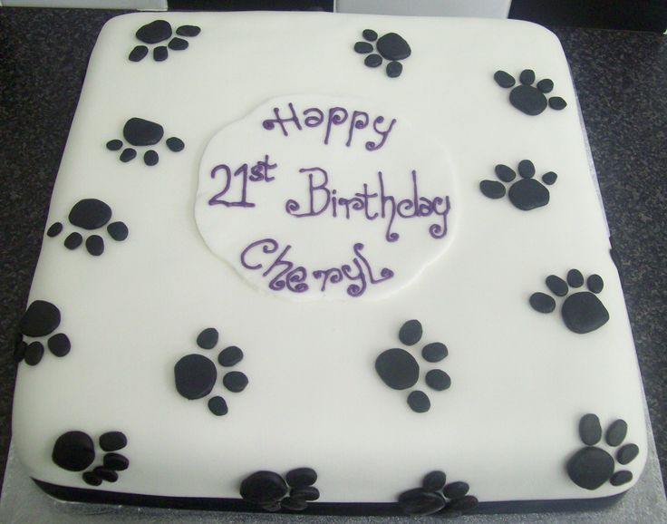 Black & White Pawprints 21st Birthday Cake - 12 Inch ...